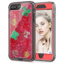 SEYMAC stock iPhone 6 Plus Case Flowers, Clear Flexible TPU Bumper Protection Shockproof Case with Dried Real Flowers Girls Glitter Floral Case for iPhone 6 Plus/6s Plus/7 Plus/8 Plus(Red)