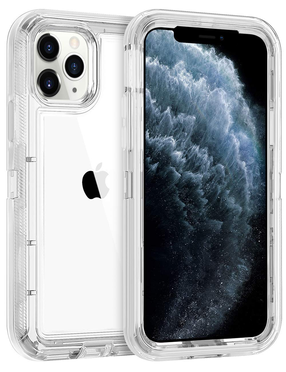 ORIbox Protective Case for iPhone 11 pro, Heavy Duty Shockproof Anti-Fall case, More Suitable for People with Big Hands, Crystal Clear, Military Grade Drop 3 in 1