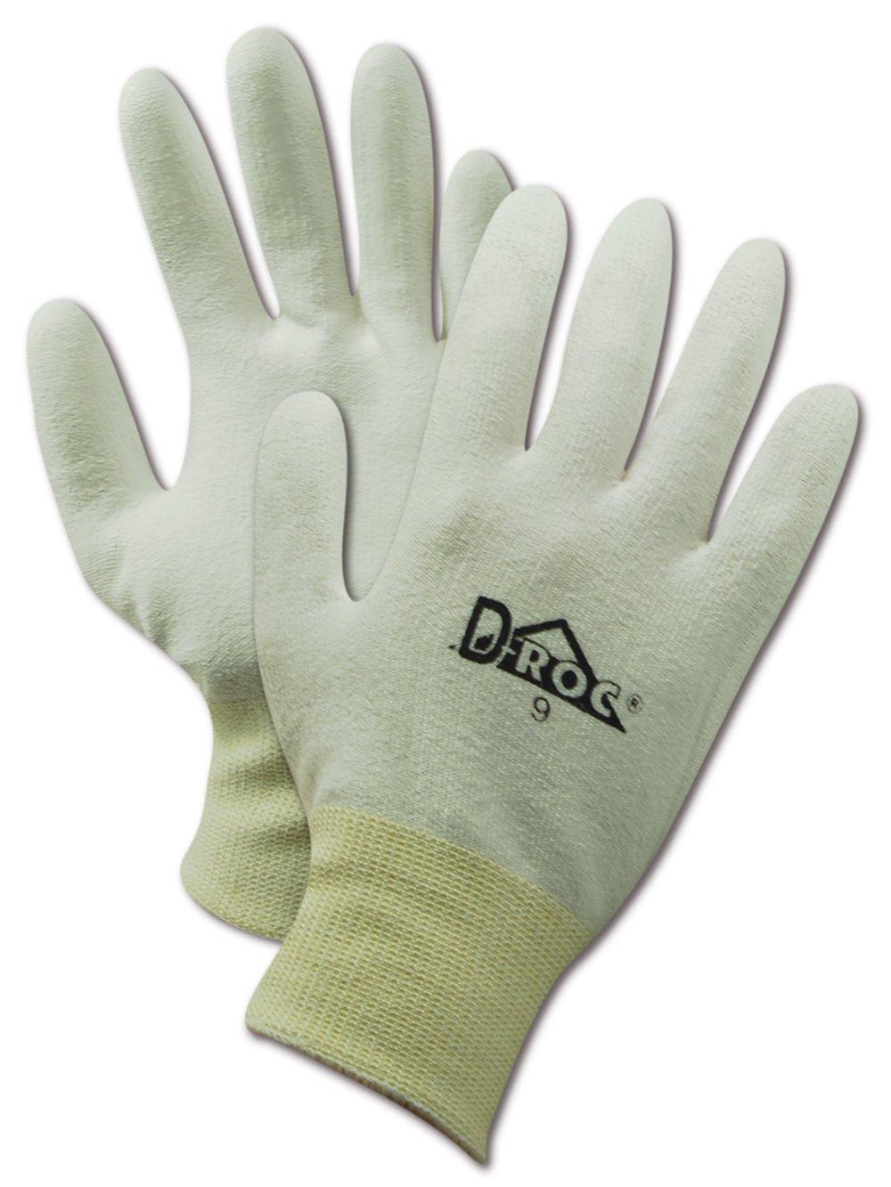 "Magid D-ROC PF540 Polyethylene/Polyester Glove, Polyurethane Palm Coating, Knit Wrist Cuff, 9"" Length, Size 8  (Pack of 1))"
