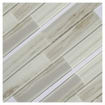 """Koozzo Glass Mosaic Tile, Rectangular, 11.8"""" x 2.95"""", a Pack of 6 Pieces (Approx. 1.45 sq ft) for Kitchen backsplash, Shower Wall, Bathroom Tile, Glossy Beige"""
