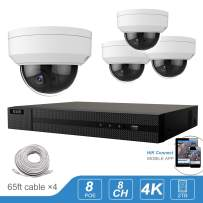 Anpviz 4K PoE Security Camera System Ultra H.265 8CH NVR Security System 4pcs Outdoor 5.0MP (2560 X 1920) IP Dome Cameras with 98ft IR Night Indoor Outdoor Surveillance, 2TB Hard Drive