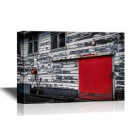 wall26 - Doors Canvas Wall Art - Red Door and Fire Reel,Old Fire Station in Wellington, New Zealand - Gallery Wrap Modern Home Decor | Ready to Hang - 12x18 inches