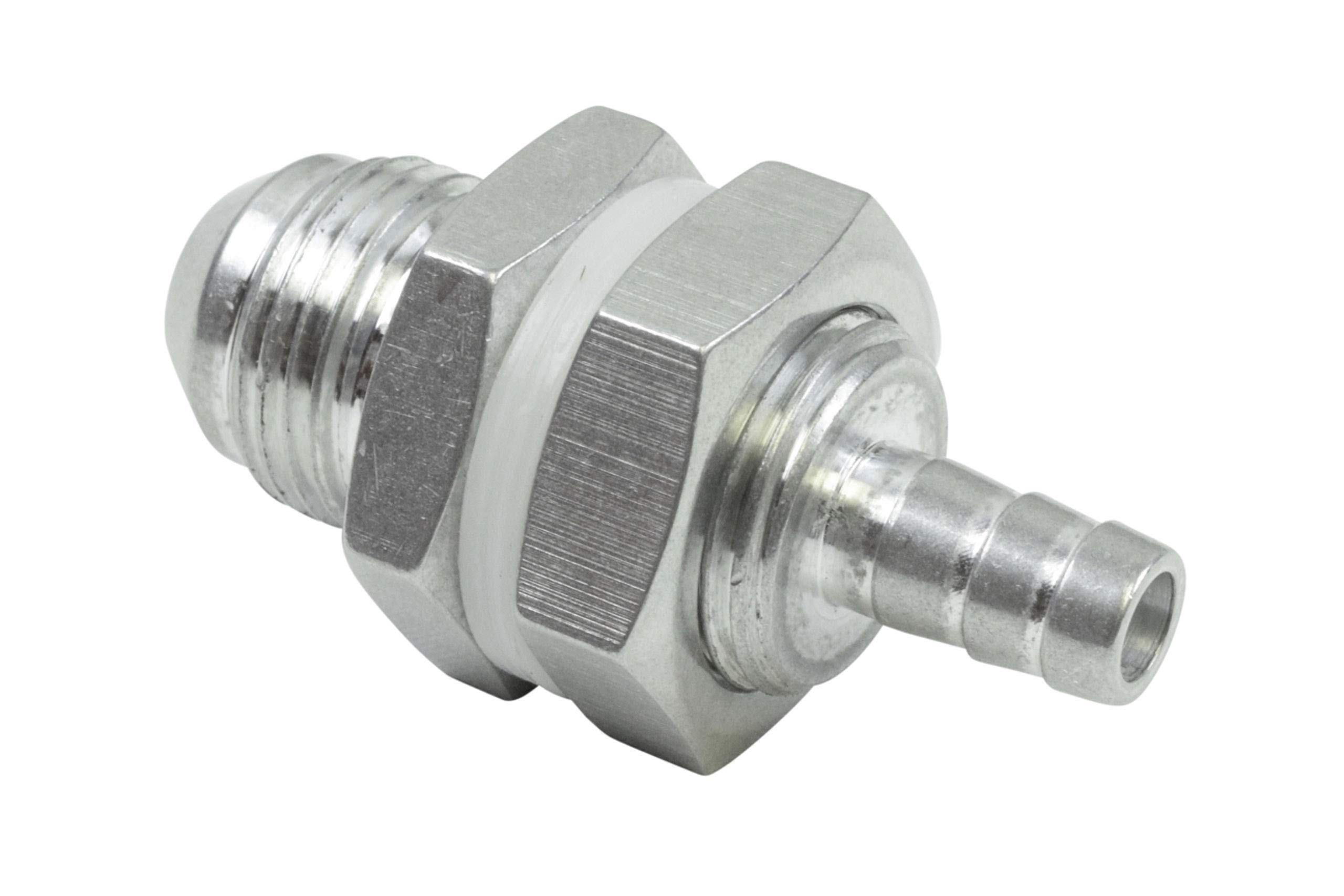 """ICT Billet -8AN Straight to 5/16"""" Hose Barb Double Fuel Pump Tank Fitting Bulkhead Adapter Fitting Hose Thread Fuel Oil Gas Coolant Connector Pipe End Plumbing Port Fluid Aluminum AN861-08-31A"""