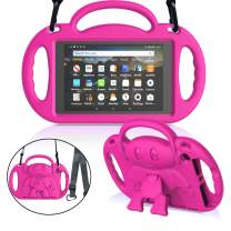 """MENZO Case for Amazon All-New Fire HD 8 2018/2017 - Shockproof Convertible Handle Light Weight Protective Stand Cover Kids Case for Fire HD 8"""" (2017 and 2018 Releases) Tablet, Rose"""