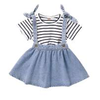 Toddler Baby Girl Summer Denim Dress Striped Top and Skirts Set Casual Clothes Set