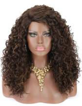 Kalyss Long Premium Synthetic Brown Highlights Deep Curly Lace Wigs for Black Women Natural Looking Curved Lace Parting Daily Hair Wigs