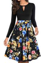YATHON Women's Vintage Floral Flared A-Line Swing Casual Party Dresses with Pockets (L, YT018-Black Flo 1-Long)
