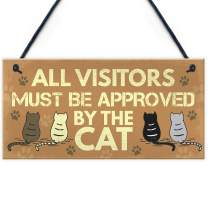 "Meijiafei Cat Signs for Home Funny Hanging Plaque Cat Sign for Home Funny Cat Sign Pet Gift 10"" X 5"""