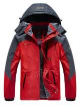 HOW'ON Men's Waterproof Ski Jackets Winter Windproof Hooded Mountain Fleece Outwear