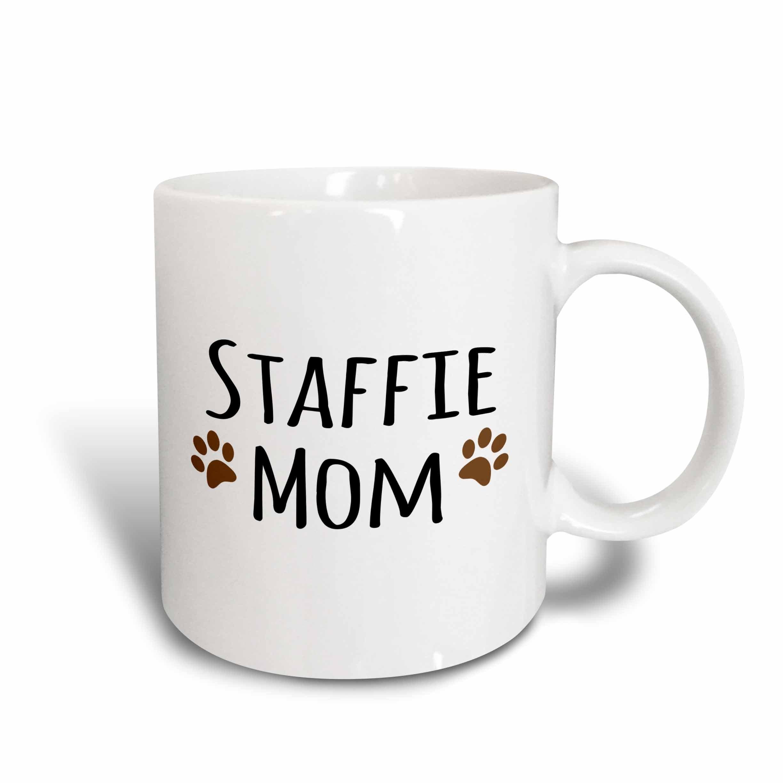 3dRose 154201_1 Staffie Dog Mom Mug, 11 oz, Ceramic