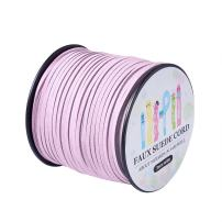 Pandahall 98Yard 90m/roll 3x1.4mm Faux Suede Cord String Leather Lace Beading Thread Suede Lace Double Sided with Roll Spool 295feet Thistle