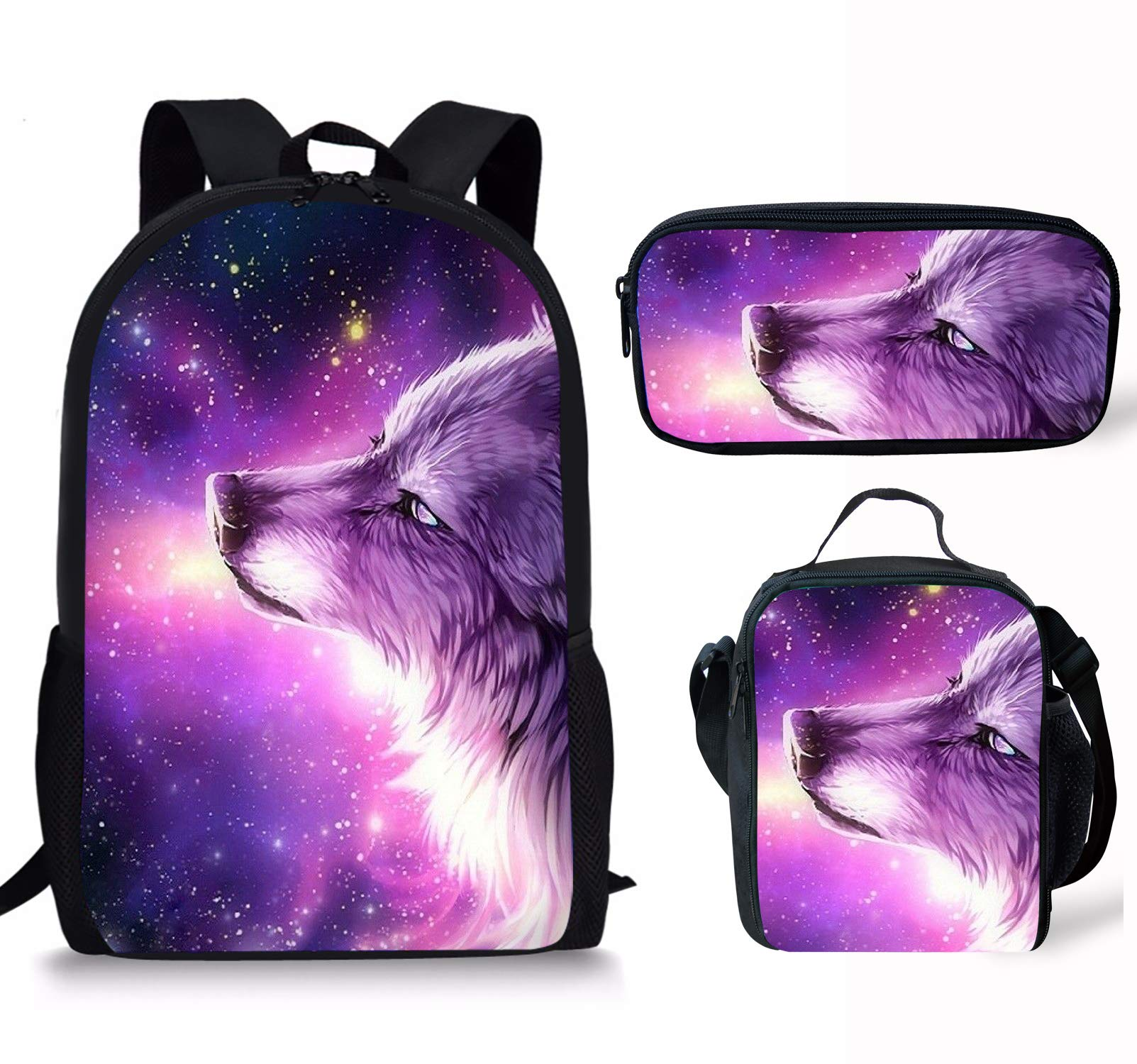 Micandle Animal School Backpack Lunch Bag Pencil case Set with Padded Straps for Boys Girls School Book Bags (Backpack Set Wolf 7)