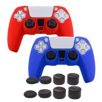 Grips for PS5 Controller Skin,Pandaren Cover for Sony Dualsense Playstation 5 Texture Pattern Sweat-Proof Anti-Slip Silicone Hand Grip x 2 with 8pcs FPS Pro Thumb Stick Cap Protector(Blue,Red)