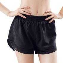 MTSCE Women's Yoga Shorts Yoga Pants Gym Workout Running Shorts (Medium, Black)