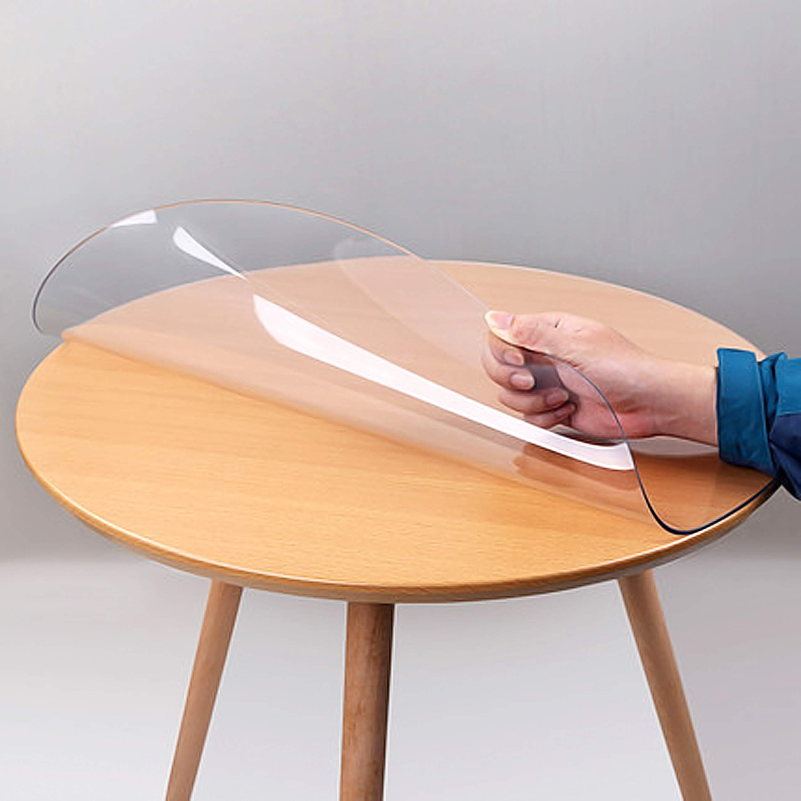 Clear Multifunctional Desk Pad Table Mat 31 4 Round Table Cover Water Resistant Non Slip Vinyl Table Protector Circle Table Pad For Coffee Glass Dining Room Table