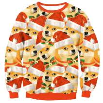 Arvilhill Men's Ugly Christmas 3D Printed Graphic Long Sleeve Sweatshirts