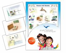 Yo-Yee Flashcards - House and Rooms Flash Cards with Matching Bingo Game Cards in One Set - Vocabulary Picture Cards for Toddlers, Kids, Children and Adults