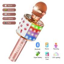 Wireless Bluetooth Karaoke Microphone with Multi-Color LED Lights, Tesoky 4 in 1 Portable Handheld Karaoke Machine Mic Hi-Fi Microphone Speaker System for Kids Adults, for Android/iPhone/PC