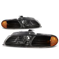 Pair Black Amber Corner Headlight Replacement for Dodge Caravan Chrysler Town & Country Plymouth Voyager 96 97 98 99