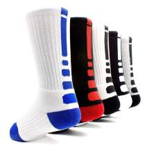 Basketball Socks 5 Pack Athletic Crew Socks Compression Sports Socks for Boy Girl Men Women