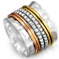 Boho-Magic 925 Sterling Silver Spinner Ring with Brass and Copper Fidget Rings for Women Wide Band