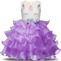 NNJXD Flower Girls Unicorn Costume Pageant Princess Party Ruffles Dress