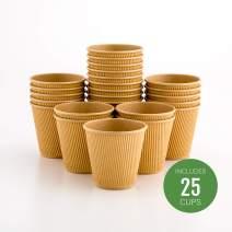 Insulated Paper Coffee Cups - Ripple Wall - Kraft - 8oz. - 500 Count Box - MATCHING LIDS: RWA0360B, RWA0360W, RWA0328LG, RWA0328GR, RWA0328HP, RWA0283W, RWA0283B