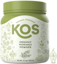 KOS Organic Moringa Powder - 100% Raw, Gluten Free, Non-GMO Organic Moringa Leaf Powder - Nutirent Rich, Energy Boosting, Natural Multivitamin Plant Based Ingredient, 332.5g, 95 Servings