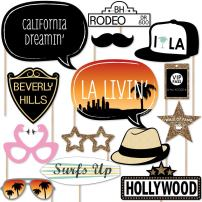 Big Dot of Happiness LA Livin' - Hollywood California Party Booth Props Kit - 20 Count