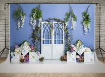 Kate Spring Decoration Photography Backdrops 7x5ft Colorful Flowers Backgrounds Photo Interior White Door Backdrop
