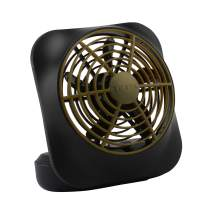 O2COOL Treva 5-Inch Portable Desktop Air Circulation Battery Fan, 2 Speed Control, Khaki