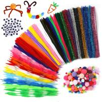 Pipe Cleaners Set, 500PCS Craft Supplies with Chenille Stems Pom Poms Self-Sticking Wiggle Googly Eyes Assorted Colors and Assorted Sizes for DIY School Art Project