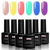 Gel Nail Polish Set - ULG Bright Color UV LED Soak Off Gel Polish Kit Nail Art with Gift Box Pink Purple Yellow Gel Polish 10ml 0.33oz