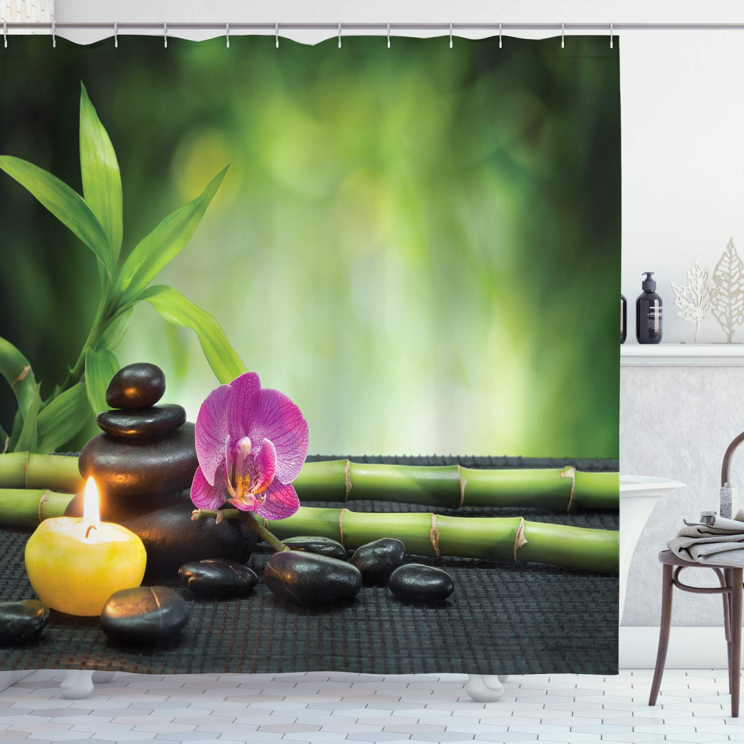 """Ambesonne Spa Shower Curtain, Orchid Bamboo Stems Chakra Stones Japanese Alternative with Feng Shui Elements, Cloth Fabric Bathroom Decor Set with Hooks, 84"""" Long Extra, Green Fuchsia"""