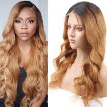 Maxfull 1b27 Lace Front Wig Human Hair Pre Plucked, Body Wave Glueless Human Hair Wigs with Elastic Band for Black Women 130% Density 14 Inch 13X4