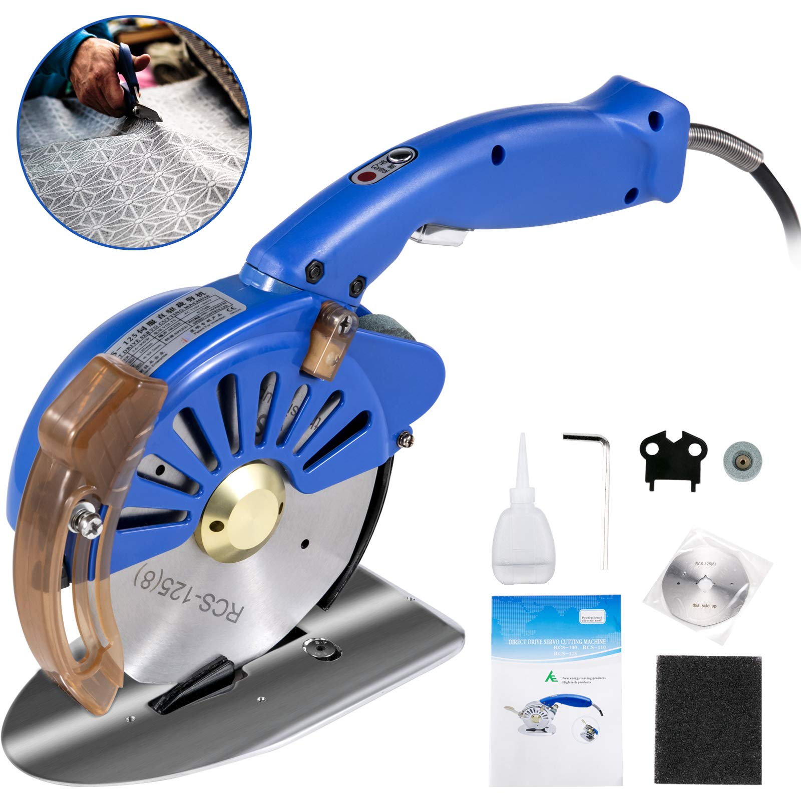 VEVOR Fabric Cutter 125mm Rotary Fabric Cutter 39mm Cutting Height Blue Electric Rotary Cutter All-Copper Motor with Low Noise Adjustable Speed Electric Scissors for Cutting Fabric and Leather