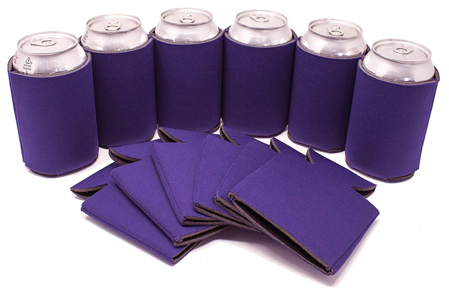 TahoeBay 25 Blank Beer Can Coolers, Plain Bulk Collapsible Soda Cover Coolies, DIY Personalized Sublimation Sleeves for Weddings, Bachelorette Parties, Funny HTV Party Favors (Purple, 25)