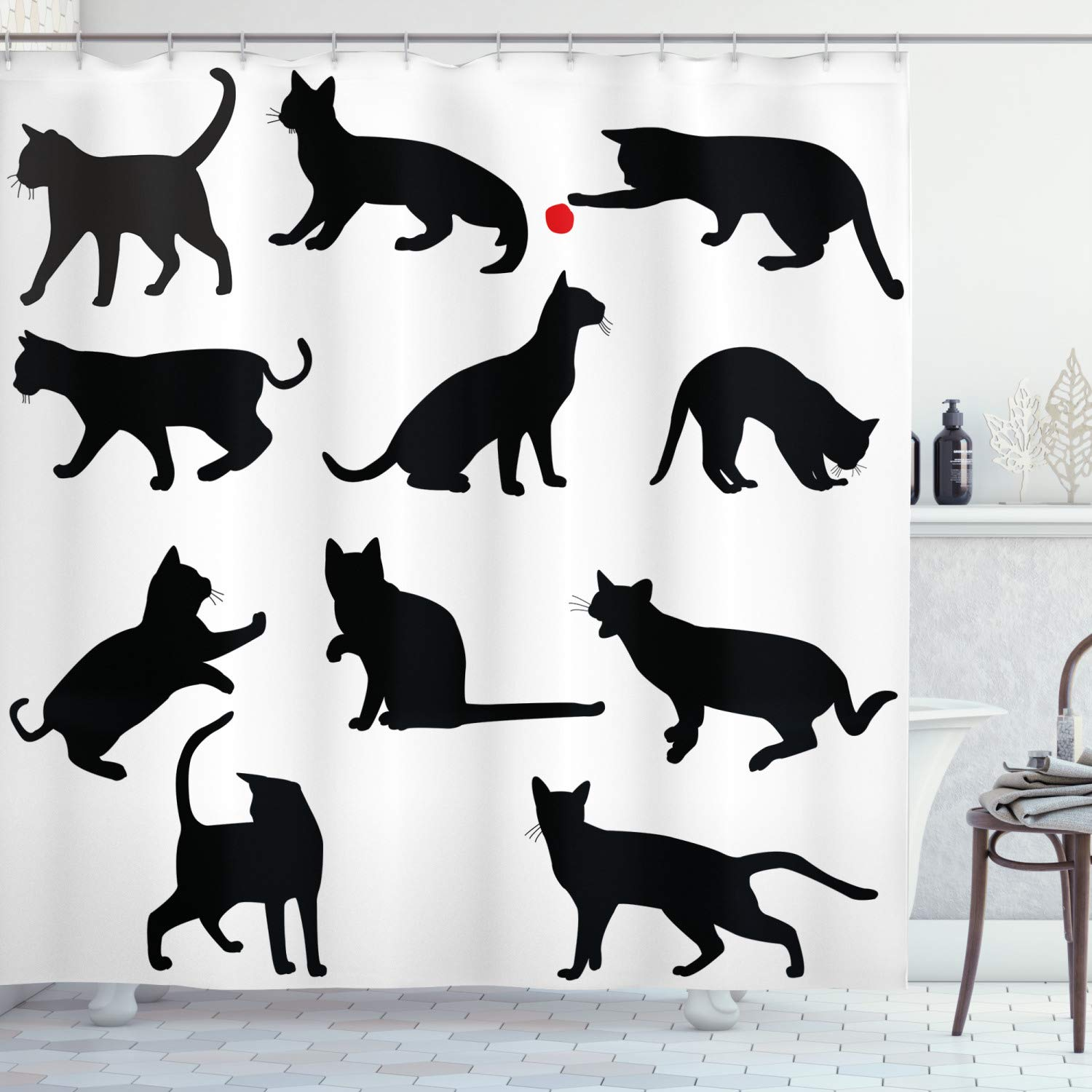 """Ambesonne Cat Shower Curtain, Silhouette of Kittens in Various Postures Playing Red Ball Animal Pet Paw Print, Cloth Fabric Bathroom Decor Set with Hooks, 84"""" Long Extra, Vermilion Black"""