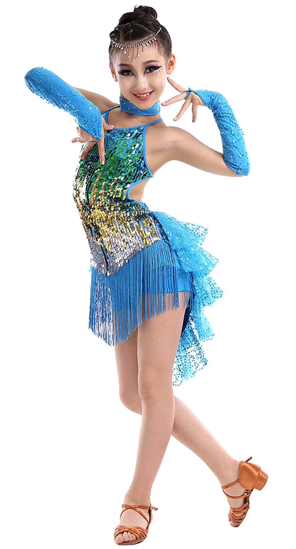 Happy Cherry Girls Sequins Dance Outfits Latin Salsa Ballroom Costumes, 4-13Y