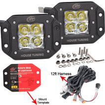 House Tuning 40W 12V Flush Mount LED Light,Backup LED Reversie Light with Harness for Trucks Off road Jeep Pickup Bumper Lights-2years Warranty (Sell as Set)