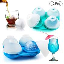 LEEFE large Ice Cube Trays, Silicone Ice Ball Maker -Set of 2, Whiskey Ice Cubes with Lids & Large Sphere Molds for Cocktail and Scotch, Reusable and BPA Free