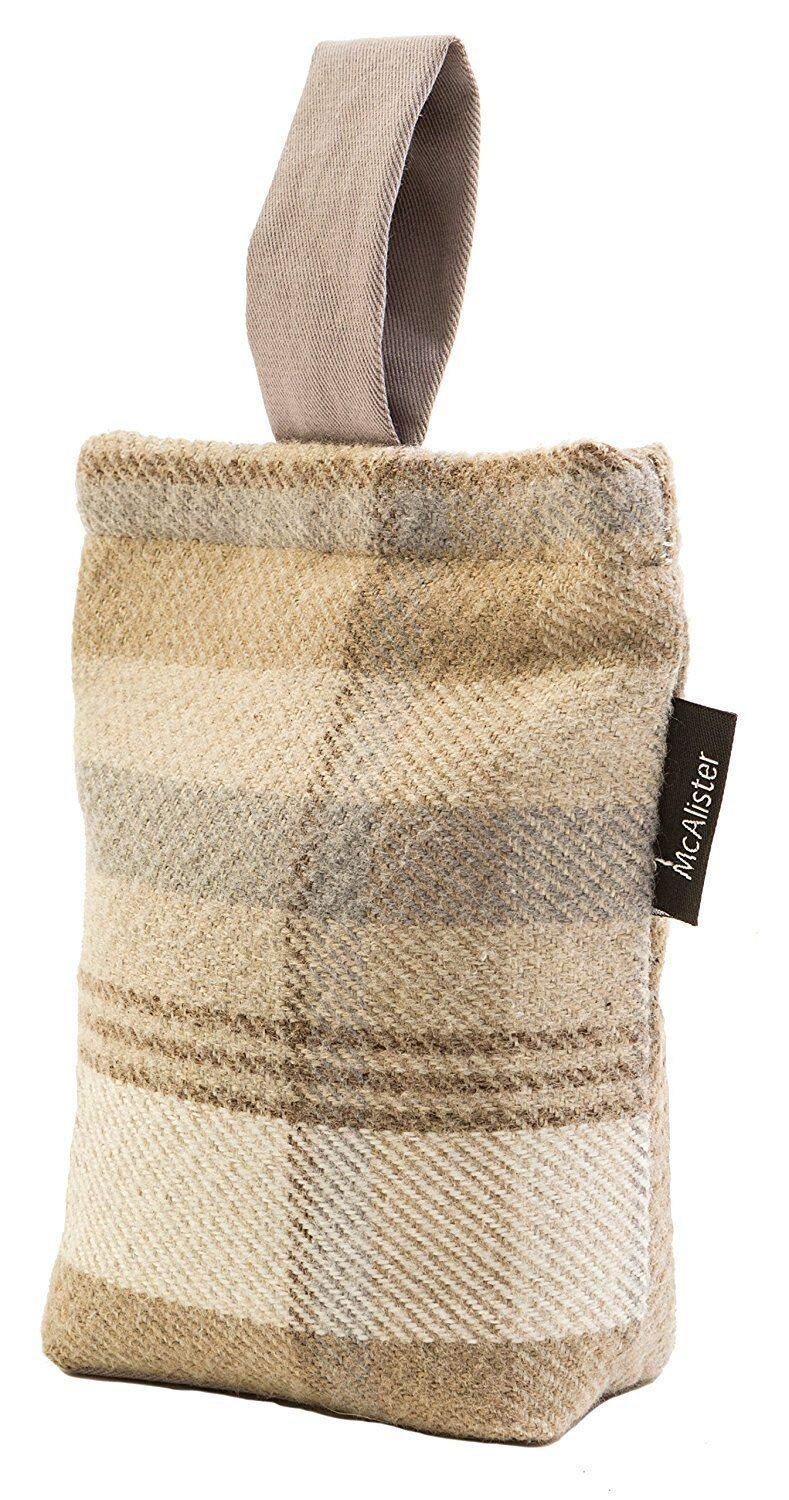 McAlister Textiles Heritage | Natural Beige Gray Wool Feel Fabric Decorative Door Stop Tartan Plaid Patterned Doorstopper Book Stopper 8x6 Inches