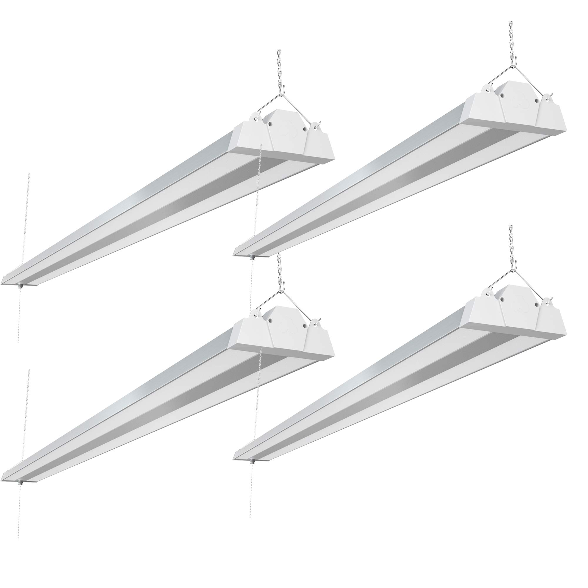 Freelicht 8FT LED Shop Light, 100W, 11000 Lumen, 5000K Daylight, 8 Foot LED Linear Fixtures for Garage, Workshop, Plugin with Power Cord, Pull Chain, ETL Certified, 4 Pack