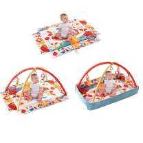 BABY JOY Baby Play Gym Mat, 3 in 1 Activity Mat with Removable Toys Bars & Walls, 5-Piece Hanging Toys Including Music & Trumpet Functions, Eco-Friendly Foldable Rectangular Mat