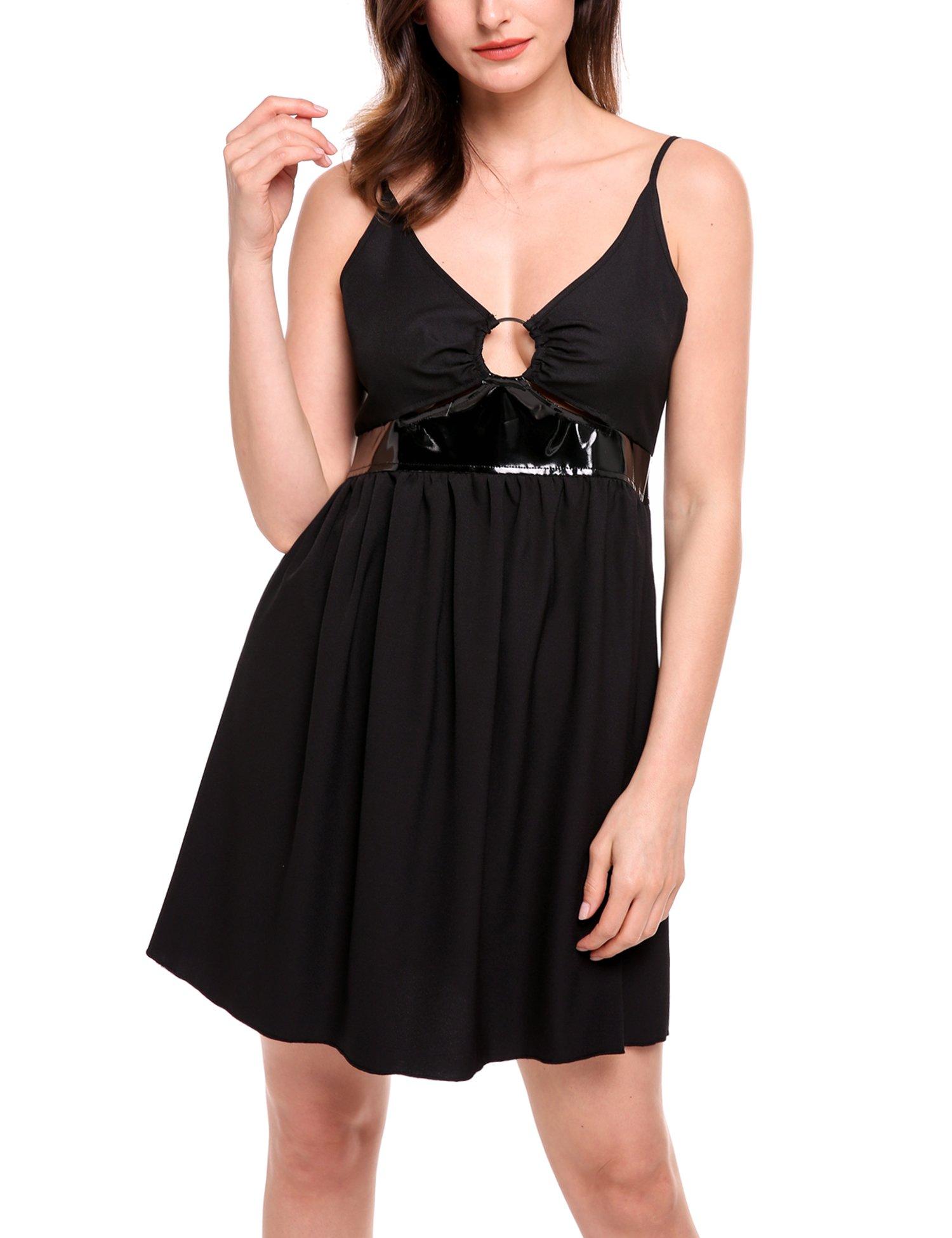 ANGVNS Women's Sexy Deep V Neck Bodycon Club Night Party Mini Dress(Black,XL)