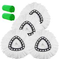 4 Pack Spin Mop Replacement Head, Mop Head Refills Mop Head Replacement Mops for Floor Cleaning Microfiber Mop Heads Bonus with 2 Pack Microfiber Cloth