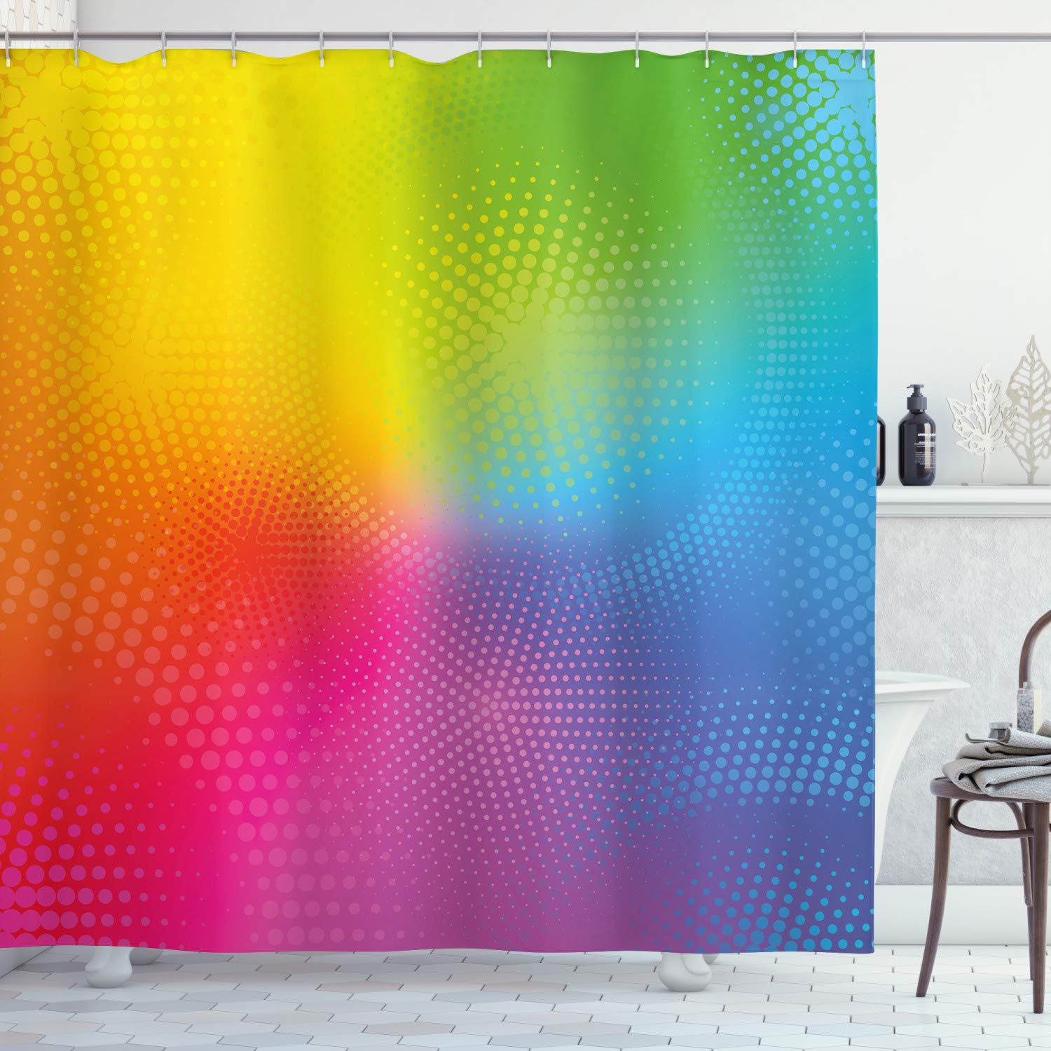 """Ambesonne Rainbow Shower Curtain, Vibrant Neon Colors Circles Rounds Dots Radiant Composition Iridescent Effect Print, Cloth Fabric Bathroom Decor Set with Hooks, 70"""" Long, Rainbow Colors"""