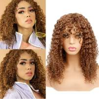 Goldfinch Brown Curly Human Hair Wig with Bangs Long Kinky Curly Wig for Women Deep Curly Virgin Hair Wig 150% Density None Lace Wig 18 inches