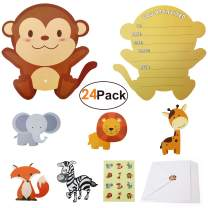 Animal-Birthday-Party-Invitations-Cards with 24 Envelops and 36 Cute Zoo Animal Stickers Sturdy Party Supplies Baby Shower Invites for Kids Girls Boys