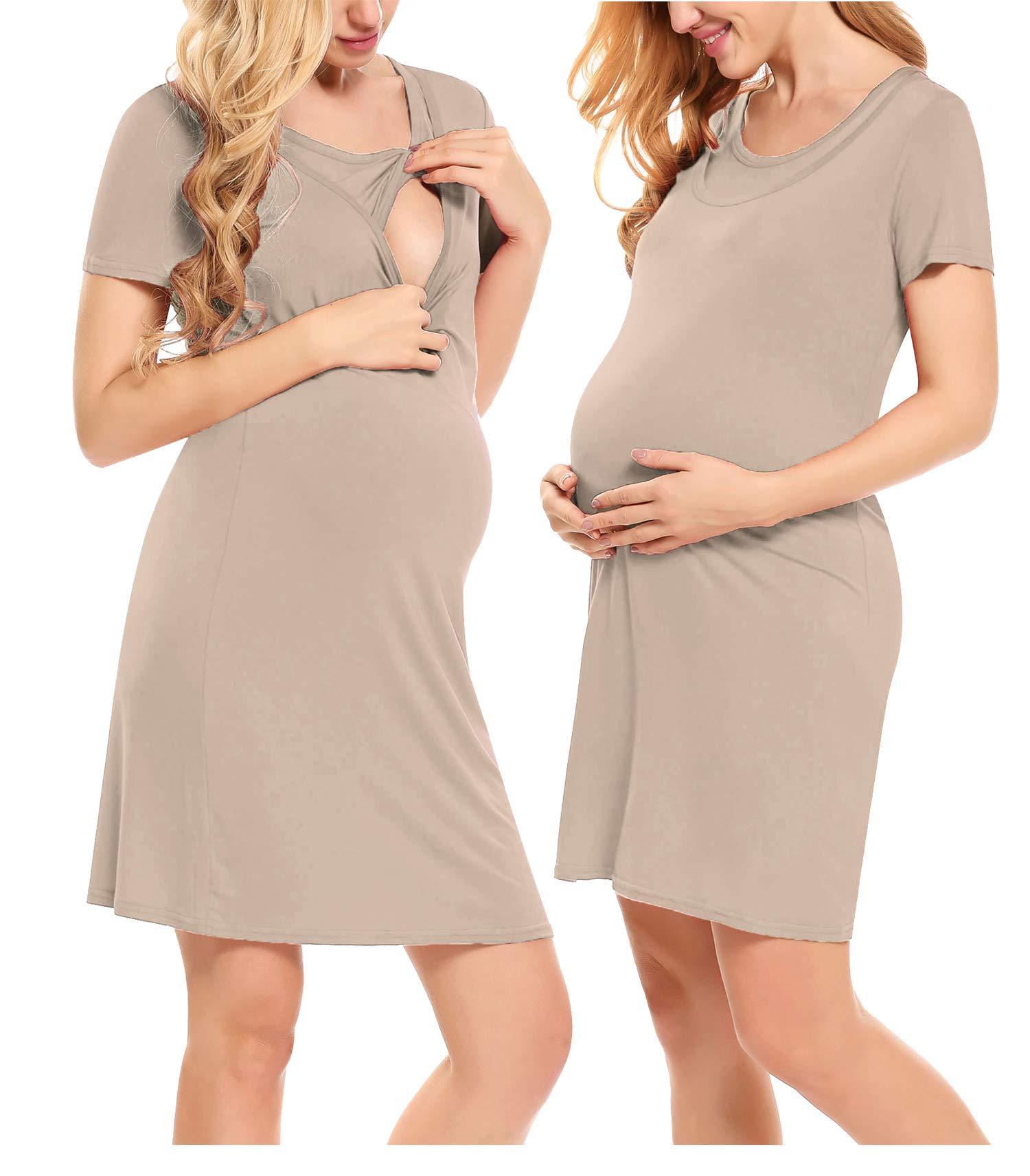 POSHGLAM Womens Nursing Nightgown Maternity Dress Labor//Delivery Hospital Gown//Sleepwear Breastfeeding Nightie